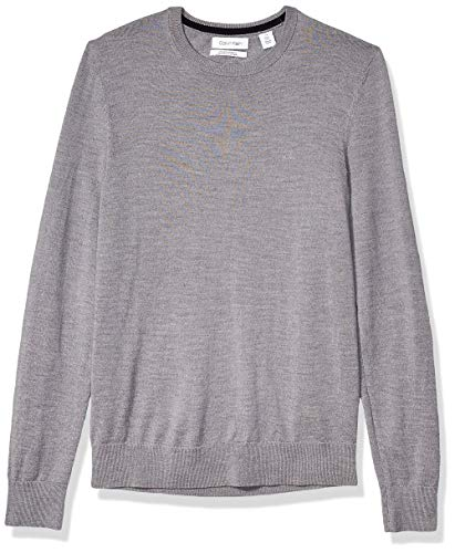 Calvin Klein Mens Merino Sweater Crew Neck, Medium Grey Heather 2019, X-Large