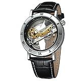 Montre transparente à mouvement automatique-Bracelet en cuir...