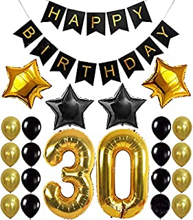 1 Set 30th Birthday Party Decoration Kit Happy Birthday Banner Balloons 32inch Foil Number 30 Years Old Party Supplies