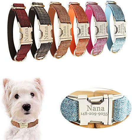 AnNengJing Personalized Dog Collar with Name Plate Adjustable Tough Nylon Customize Engraved product image