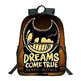 Mochila Bendy Game Cartoon Cute Picture Multi-Pocket School Bag para niños y niñas