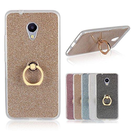 Sunrive Custodia per MEIZU M5S, Trasparente Custodia Cover TPU con 360 Gradi di Rotazione dell'anello Cavalletto + Carta Ultra Sottile Glitter Sparkle Bling Bling(d'oro)