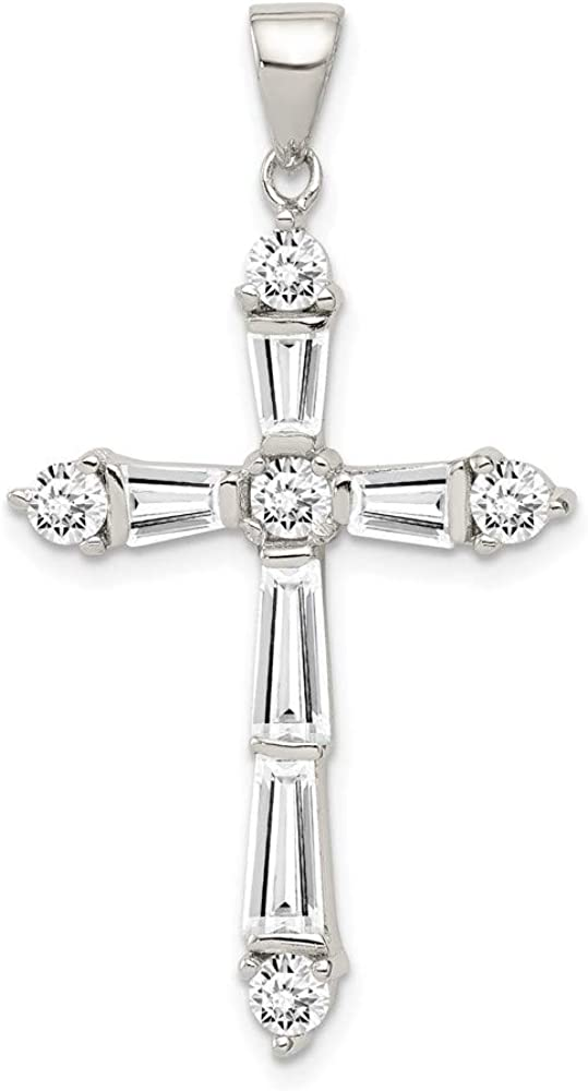 Sterling Silver Rhodium-plated CZ Cross NEW Import 21mm 40mm Pendant style