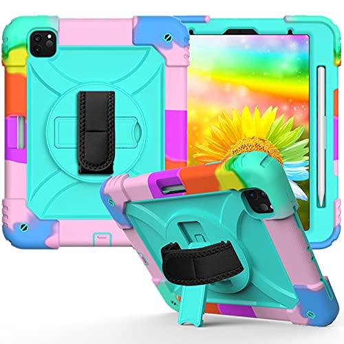 LGQ Custodia Protettiva Tab A 8,4', Adatta per Samsung Galaxy Tab A 8,4' 2020 Custodia Protettiva con Cinturino SM-T307 SM-T307u con Tracolla Staffa Rotante Cover in Silicone,Rainbow Green