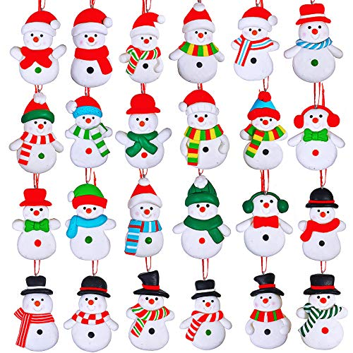 24 Set Christmas Tree Ornaments Hanging Advent Calendar Ornaments Clay Figurine Ornaments Snowmen Family Dolls Snowmen Ornaments for Kids Gift Kitchen Winter Christmas Tree Decoration