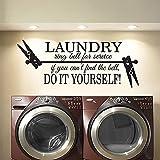 TANGBOS Adhesivo decorativo para pared con cita de lavandería, anillo de lavandería, campana para el servicio Do It Yourself