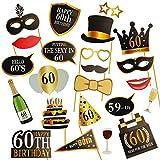 Kissdate 24pcs 60E anniversaire Photo Booth Props, drôle DIY Kit pour homme femme...