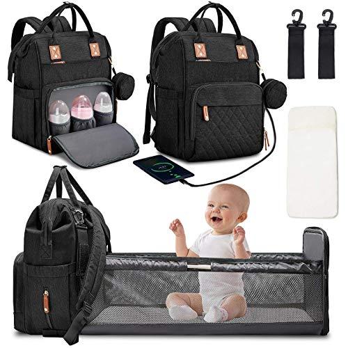 Aujelly Wickeltasche Rucksack Multifunktions-Klappbett Flasche Isolierung Wickelauflage Kinderwagen Tragbare Reisetasche für Neugeborene Wickeltasche Schwarz