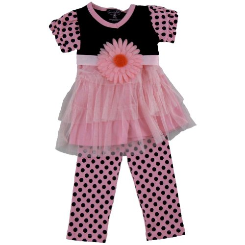 Mud Pie Baby Tunic and Leggings Set, Pink/Black, 0-6 Months - Multicolour -...