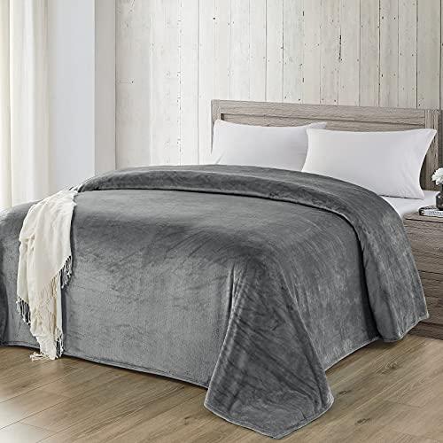 WAVVE Manta Franela Reversible 220x240 cm para Cama 135/150, Manta de Sofá, 100% Microfibra Suave, Caliente, Transpirable para Hogar, Oficina, Viaje (240x220 cm, Gris)