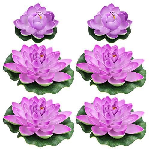 Balacoo 6 Stücke Künstliche Lotus Lotusblume Schwimmende Seerose Lotusblüte Lotusblatt für Garten Deko Gartenteich Pool Aquarium Fisch Teich Wasserpflanzen