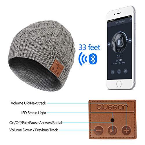 Azul oreja inalámbrico Bluetooth Beanie & # x258F; Al aire libre lavable inalámbrico sombrero & # x258F; Cap construir en altavoces estéreo y micrófono auriculares con micrófono & # x258F; Manos libres Llamada respuesta–para Deportes al aire libre corriendo senderismo