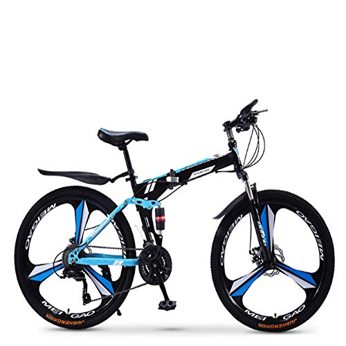 Pliuyb Mountain Bike, Folding Mountain Bike Bicycle 21/24/27/30 Speed Men and Women Speed Student Adult Bicycle Double Shock Racing (Color : 24inch, Size : 24speed)
