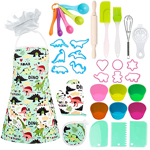 TEUVO Kids Baking Chef Set 35 Pcs with Dinosaur Apron and Mitt, Cooking Chef Dress Up Role Play Kitchen Toys for Little Girls Boys Aged 3 4 5 6 7 8