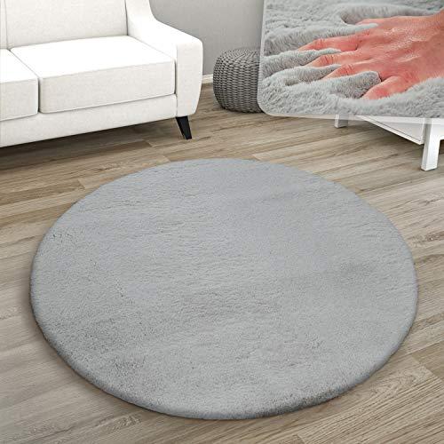 Paco Home Teppich Rund Fellteppich Kunstfell Plüsch Bettvorleger Shaggy Wohnzimmer Kinderzimmer, Grösse:Ø 120 cm Rund, Farbe:Grau