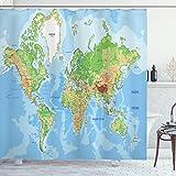 ABAKUHAUS Duschvorhang, Globale Weltkarte Atlas Klassische Landkarte Nationalatlanten Geografie Bild Design Druck, Wasser & Blickdicht aus Stoff mit 12 Ringen Schimmel Resistent, 175 X 200 cm