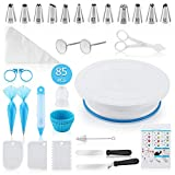 Docgrit Cake Decorating kit- 85PCs Cake Decoration Tools with a Non Slip Base Cake Turntable, 12 Numbered Cake Icing...