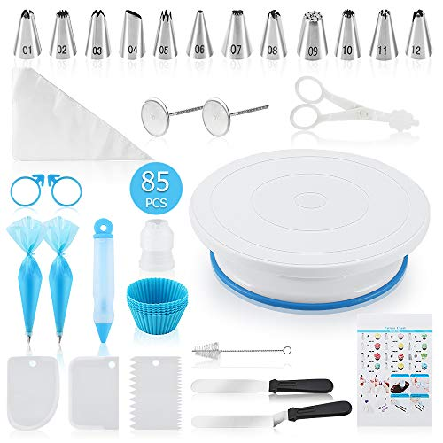 Docgrit Cake Decorating kit- 85PCs Cake Decoration Tools with a Non Slip Base Cake Turntable, 12 Numbered Cake Icing Tips & Guide and Other Cake Decorating Kit for Beginner