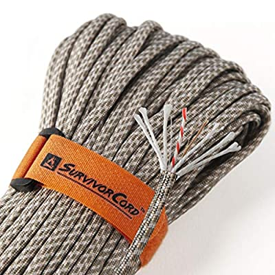 Titan 620 LB SurvivorCord Paracord | Patented U.S. Military Type III 550 Parachute Cord (MIL-C-5040H) with Integrated Fishing Line, Fire-Starter Tinder, and Snare Wire. 100% Nylon. Free eBooks. from TITAN Paracord