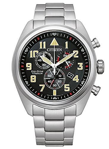 Citizen Eco-Drive AT2480-81E - Reloj cronógrafo para hombre (titanio), color negro