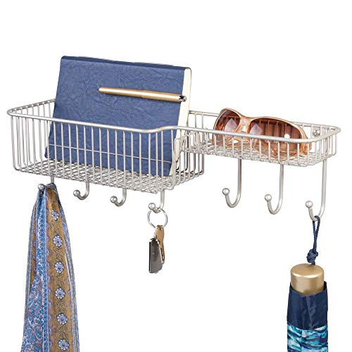 mDesign Metal Wire Wall Mount Entryway Storage Organizer Mail Basket Holder with 7 Hooks, 2 Compartments - for Organizing Letters, Magazines, Keys, Coats, Leashes - Satin