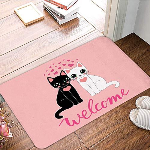 OPLJ Cartoon Kätzchen Türmatte Küche Badezimmer Türmatte Rutschfester Boden Boden Indoor Outdoor Teppich Waschbare Matte A4 40x60cm