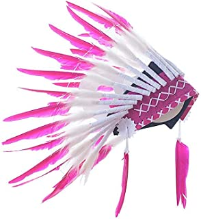 Samber Kids Feather Headdress Props Hat IndianHeaddress Baby Decor Headwear Newborn Photography Props Hat Native American Indian Inspired for Unisex Children/Pink