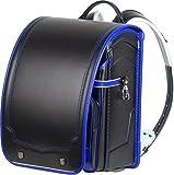 日本製 ふわりぃ コンビカラー ランドセル ≪ 黒 (ブラック) ×ロイヤルブルー(フチ)≫ カブセ表に強力耐傷素材レミニカ使用 外せる持ち手ハンドル付 A4ポケットファイル 収納サイズ