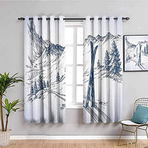 Printed Curtains Thermal Insulated - White Snow Mountain Sports Skiing - Eyelet Window Treatment For Bedroom Nursery 170X200Cm