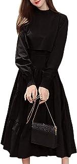 [ニーマンバイ] ティアード ロング ワンピース セットアップ 風 2way 長袖 ワンピ ドレス レディース M~XL