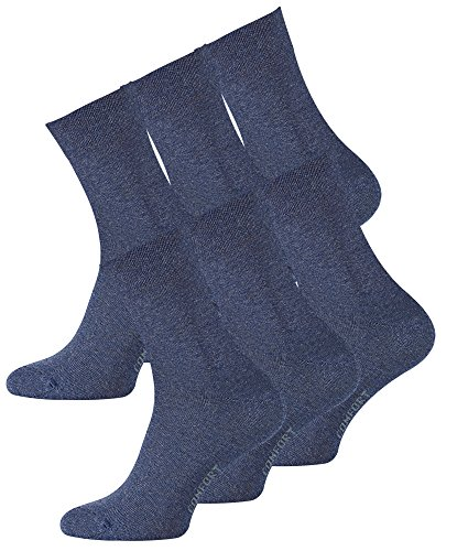 VCA 6 Paar Herren Diabetiker Socken, Ohne Gummibund, Baumwolle, handgekettelte druckfreie Spitze Gr.43-46 blau
