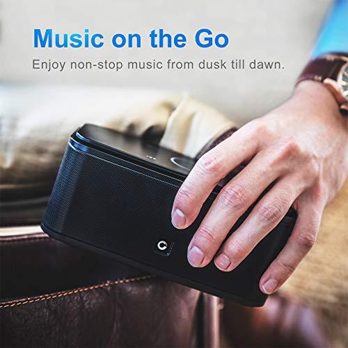 DOSS SoundBox - Altavoz Bluetooth con Tacto Sensible, Potente Subgrave 12W,Doble Controlador Integrado,12 Horas de Reproducción Continua y Manos Libres (Negro)