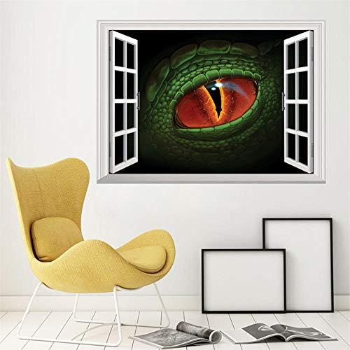 3D stereo fejk fönster vägg klistra fast dinosaurie öga dekal väggdekor dekorativ vägg fönster heminredning barnrum dekoration – 50 x 70 cm