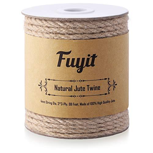 Fuyit Cuerda de Yute 4mm, 98 Pies | 30 m Natural Biodegradable Cuerda Manualidades para el Hogar, Jardinería, Artesanía y Decoración
