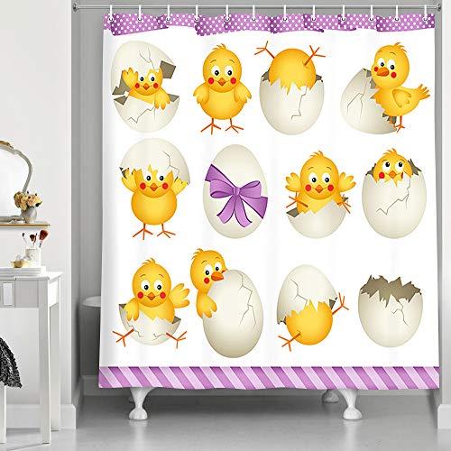 NYMB Ostereier Küken Duschvorhang, schöner gelber Kaninchen Huhn mit Eier für Frühling, Festival, Stoff, Duschvorhang-Set mit Haken, 177,8 x 177,8 cm, Badezimmer-Zubehör