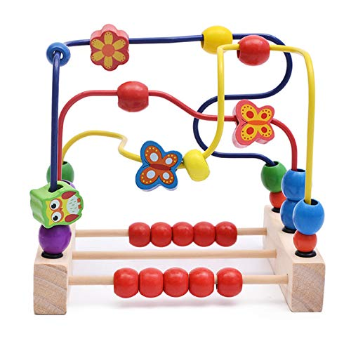 JenLn Actividad de Juguetes de Cubo Educativo Abacus Beads Juego niños pequeños Bead Maze Roller Coaster Animal Circle Toys para Boys Girls Baby Regalo Juguetes de Aprendizaje Preescolar