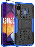 Yiakeng Samsung Galaxy A20 Case, Galaxy A50 Case with Tempered Glass Screen Protector with Kickstand for Samsung Galaxy A50/A20 (Blue)