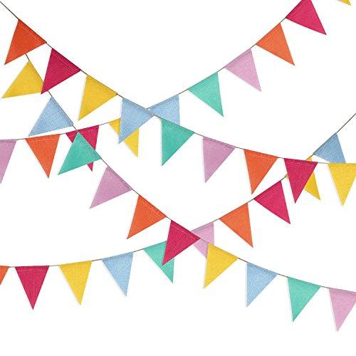 Hestya 32,8 Fuß Wimpel Banner 42 Stücke Dreieck Flagge Bunting für Party Hängende Dekoration