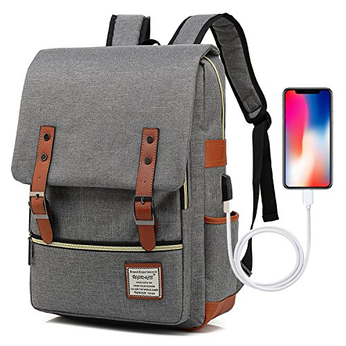 UGRACE Vintage Laptop Backpack with USB Charging Port, Elegant Water Resistant Travelling Backpack Casual Daypacks School Shoulder Bag for Men Women, Fits up to 15.6Inch MacBook in Grey
