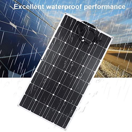 Naroote Solarpanel, 18V 100W Einkristall Etfe Chip Solarpanel Ladegerät mit vorderem MC4 Kabel für Auto Schiffe