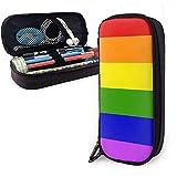 Estuche para bolígrafo de cuero Bandera del orgullo gay de Estados Unidos Bolso para papelería con lápiz Bolso para lápiz Estuche para bolígrafo