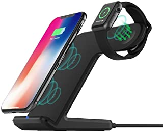 Fast Wireless Charger Stand Compatible with Apple Watch 5/4/3/2, Wireless Charging Station Dock for iPhone 11/11 Pro/XS Ma...