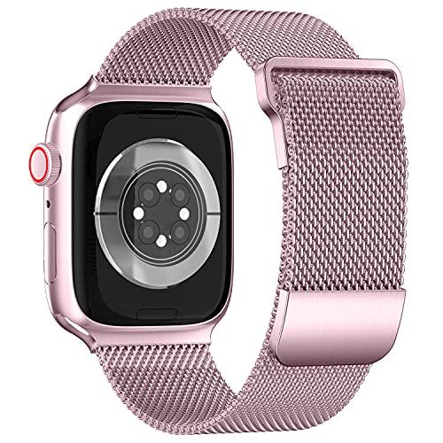 ToouYoor Correa Compatible con Apple Watch 38 mm 40 mm 42 mm 44 mm, Pulsera de Acero Inoxidable de Malla Metálica de Repuesto Para iWatch Series SE 6 5 4 3 2 1,Oro rosa,38/40mm