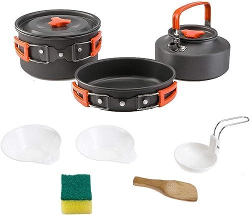 Qoloop Batterie de Cuisine en Plein air 2-3 Personnes Camping Kettle Batterie de Cuisine portable Batterie de Cuisine en Plein air