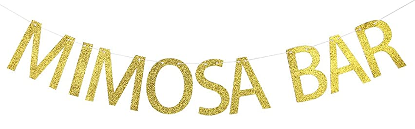 MIMOSA BAR Gold Glitter Bachelorette Party Banner Bridal Shower Bunting Sign Supplies