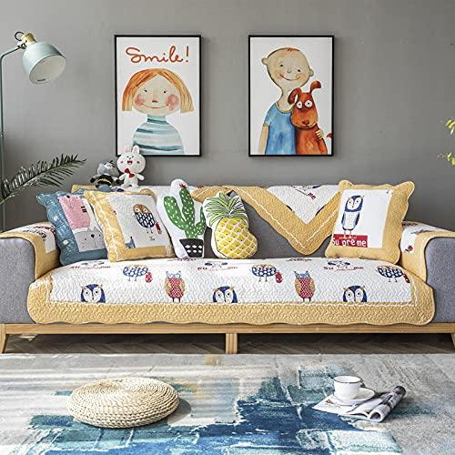 KENEL Algodón Lavable Funda De Sofá para L-sofá, Funda de sillón Funda de sofá en Forma de l, Cubierta de Toalla de cojín de sofá para Todas Las Estaciones.-110 * 160cm_Borde Amarillo-Vendido