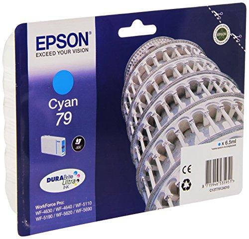 Epson Original T79 Tintenpatrone Pisa, WF-4630DWF WF-4640DTWF WF-5110DW WF-5190DW WF-5620DWF WF-5690DWF WF-5190DW WF-5690DWF, (cyan)