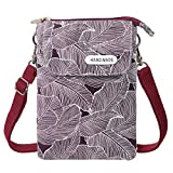 WITERY Canvas Small Cell Phone Purse Wallet Shoulder Bag Lightweight Leaf Pattern Crossbody