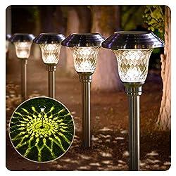 cheap BEAU JARDIN 8 Pack Solar Light BrightWalkway Outdoor Garden Stainless Steel Glass Mast…