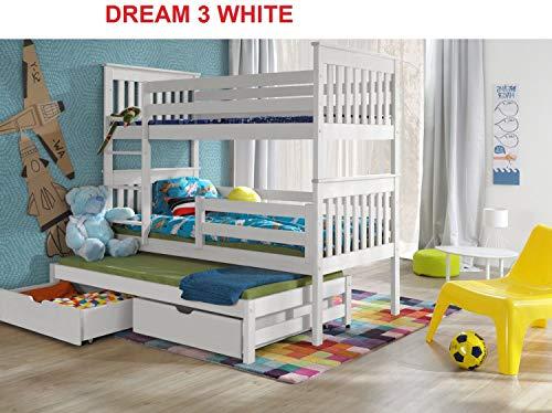 Bunk Beds Etagenbetten mit 3 Etagen, Holz, Massivholz, Grau